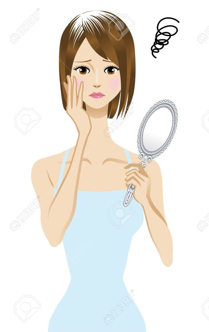 15454942-gray-hair-Women-suffering-from-gray-hair-Stock-Vector